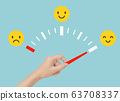 Hand holding red gauge and pointing to face emotional in happiness on emotional gauge. 63708337