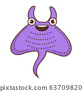 Devil fish cartoon character with smile on face 63709820