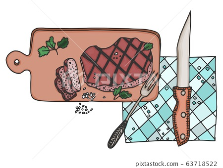 sliced meat with salt a delicacy. doodle vector 63718522
