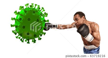 Professional sportsman kicking, punching coronavirus model - fight the desease, flyer 63719216