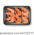 Shrimp in plastic tray container with cellophane 63720777
