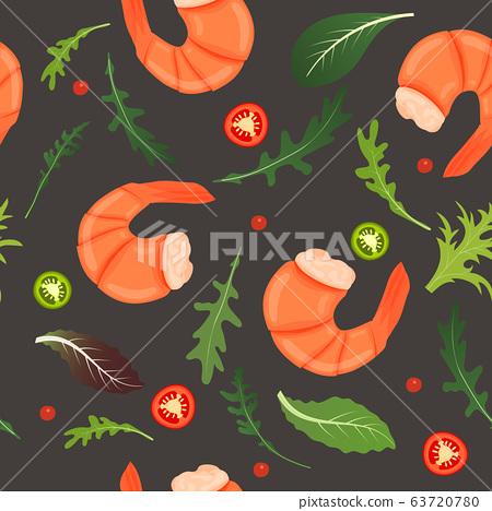 Boiled shrimp, chili pepper and arugula leaf mix 63720780