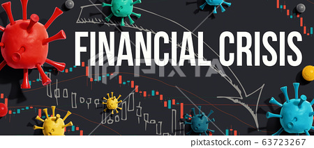 Financial Crisis theme with viruses and stock price charts 63723267