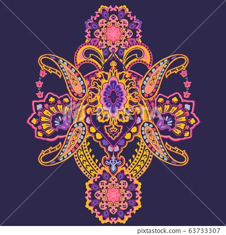 美麗的複古抽象巴洛克式的齋月圖案花 63733307