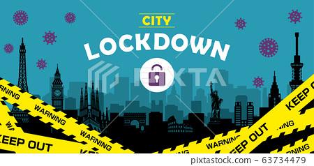 城市封鎖/城市封鎖(新冠狀病毒/ Covid19)橫幅圖 63734479