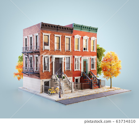 Unusual 3d illustration of Brownstone buildings 63734810