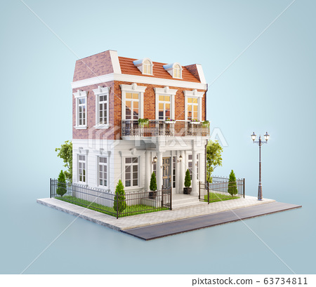 Unusual 3d illustration of a beautiful house with 63734811