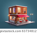 Unusual 3d illustration of a cozy cafe 63734812