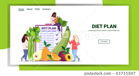 people holding different organic fruits herbs mix race women planning weight loss program diet plan healthy nutrition concept horizontal copy space 63735897