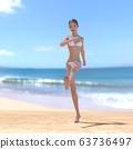 หญิงสาวในชุดว่ายน้ำสีขาวดัดวัสดุภาพประกอบ 3DCG 63736497
