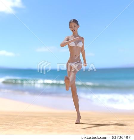 흰 수영복 젊은 여성 perming 3DCG 일러스트 소재 63736497