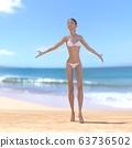 หญิงสาวในชุดว่ายน้ำสีขาวดัดวัสดุภาพประกอบ 3DCG 63736502