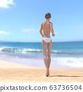 หญิงสาวในชุดว่ายน้ำสีขาวดัดวัสดุภาพประกอบ 3DCG 63736504