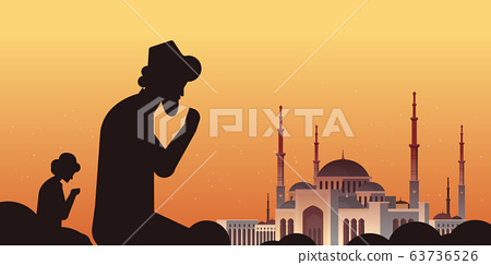 religious muslim men silhouettes kneeling and praying ramadan kareem holy month religion concept nabawi mosque building sunset background flat portrait horizontal 63736526