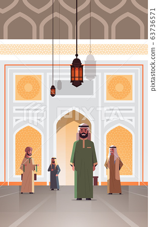 arab people coming to nabawi mosque building muslim religion concept arabic men in traditional clothes flat full length 63736571