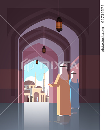 arab people coming to nabawi mosque building muslim religion concept vertical flat full length 63736572