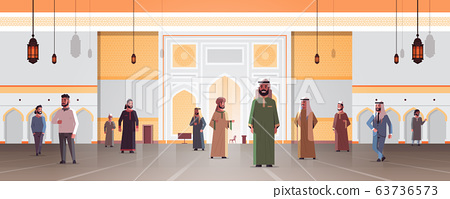 arab men coming to nabawi mosque building muslim religion concept arabic people in traditional clothes ramadan kareem holy month horizontal flat full length 63736573