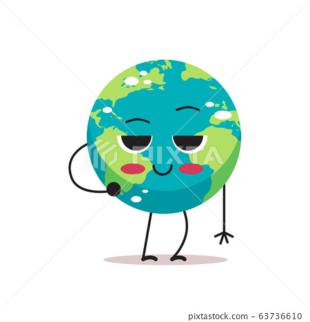shy cute earth character cartoon mascot globe personage showing facial emotion save planet concept isolated 63736610