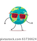 cute earth character wearing sunglasses cartoon mascot globe personage save planet global warming concept isolated 63736624