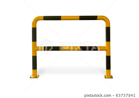 A warning yellow and black metal fence attach on 63737841