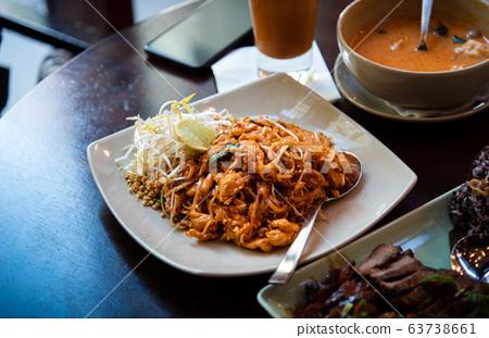 thai food pad thai serviced on a plate 63738661