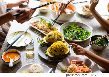 People having Thai food meal at the restaurant 63738662