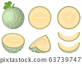 Set of fresh whole, half, cut slice melon fruit 63739747