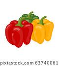 Fresh bell pepper vegetables isolated on white 63740061