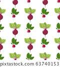 Seamless pattern with fresh radish and beet 63740153