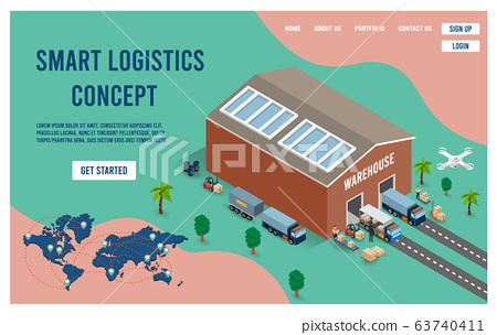 Modern flat design isometric concept of Smart Logistics with global logistics partnership for website and mobile website.  Easy to edit and customize. Vector illustration 63740411