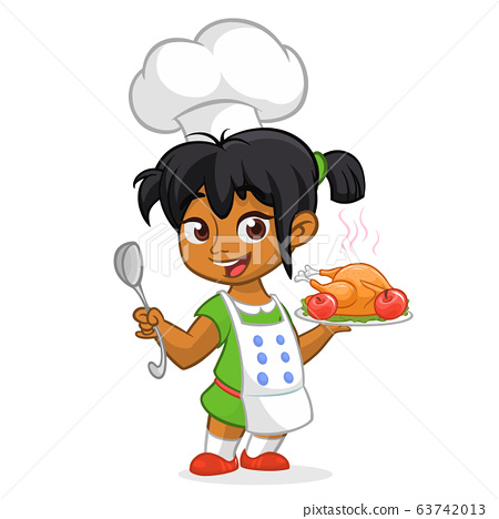 Cartoon Cute Little Arab Or Afro American Girl Stock Illustration 63742013 Pixta