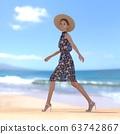 หญิงสาวในชุดฤดูร้อนยืนอยู่บนชายหาดที่มีภาพประกอบวัสดุ 3DCG 63742867
