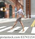 ผู้หญิงคนหนึ่งกำลังข้ามถนนคนเดินข้ามวัสดุที่ประกอบกันเป็น 3DCG 63743154