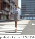 ผู้หญิงคนหนึ่งกำลังข้ามถนนคนเดินข้ามวัสดุที่ประกอบกันเป็น 3DCG 63743156