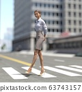 ผู้หญิงคนหนึ่งกำลังข้ามถนนคนเดินข้ามวัสดุที่ประกอบกันเป็น 3DCG 63743157