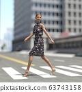 ผู้หญิงคนหนึ่งกำลังข้ามถนนคนเดินข้ามวัสดุที่ประกอบกันเป็น 3DCG 63743158