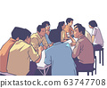 Illustration of group of people friends students conversation studying in pub bar restaurant izakaya 63747708