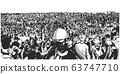 Illustration of large protesting crowd 63747710