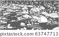 Illustration of crowded summer beach in black and white relief print style 63747713