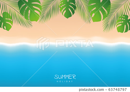 beautiful summer holiday beach background with palm leaf and turquoise water 63748797
