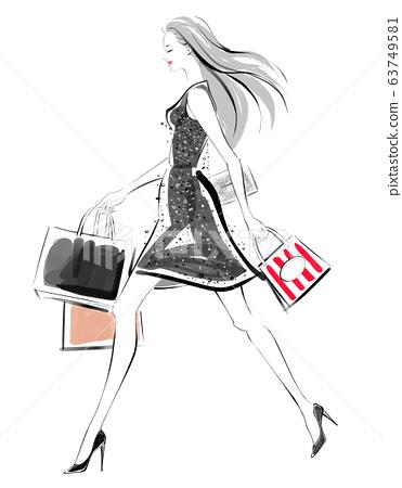 黑女人享受購物 63749581