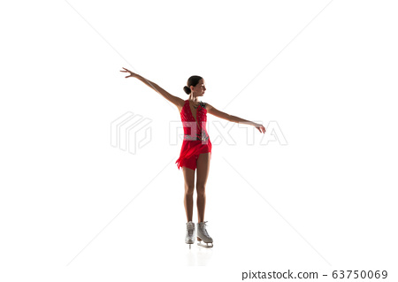 Girl figure skating isolated on white studio backgound with copyspace 63750069