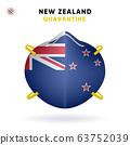 New Zealand Quarantine Mask with Flag. Medical Precaution Concept. Vector illustration Coronavirus isolated on white background. Template Danger of Coronavirus 63752039