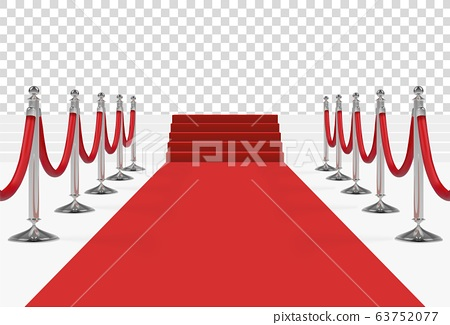 Red carpet on stairs with red ropes on silver 63752077