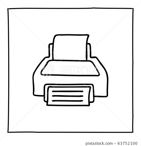Doodle printer icon or logo, hand drawn with thin 63752100