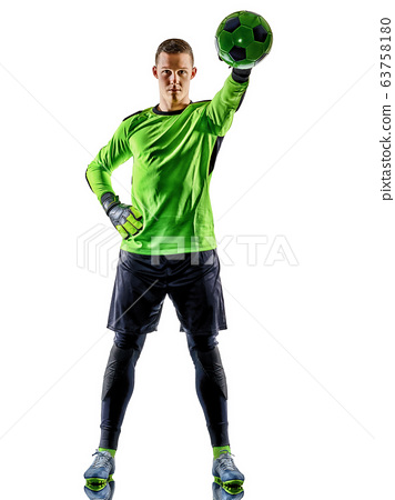 soccer player goalkeeper man silhouette shadow isolated white background 63758180