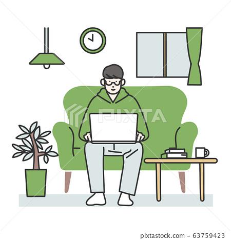 집에서 일을하는 비즈니스맨 63759423