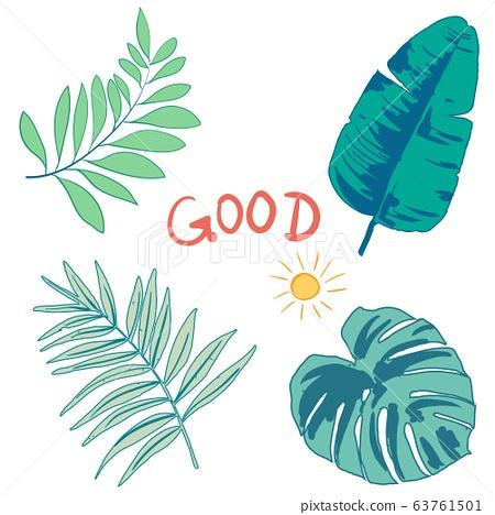 美麗的綠色抽象卡通矢量樹葉和樹枝 63761501