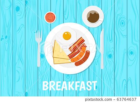 Vector illustration of breakfast set on blue table 63764637