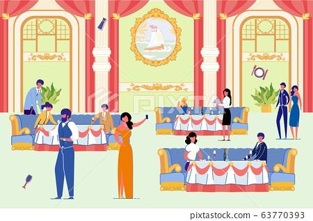 People in Luxury Restaurant with Elegant Interior 63770393
